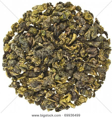 Oolong Tea with milk flavor (Tea Bao Chao Nai Xiang), Top view heap, isolated on white background