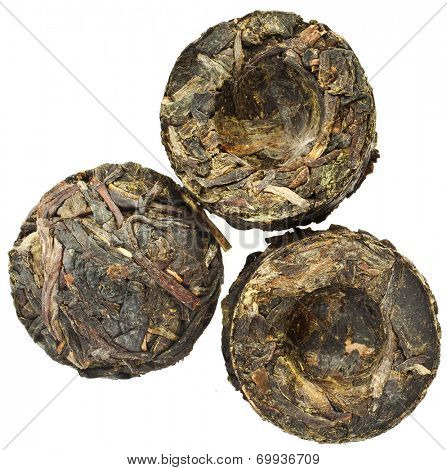 Green Tea Puer (Yunnan Puer Sheng Tuo) surface, top view, isolated on white background
