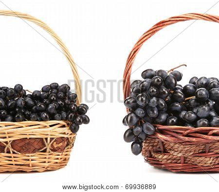 Two basket with red grape.