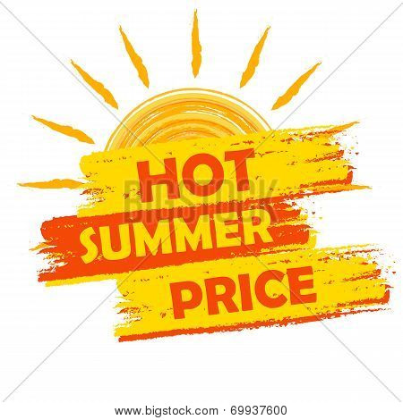Hot Summer Price With Sun Sign, Yellow And Orange Drawn Label