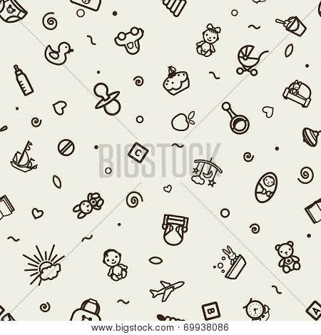 Seamless Texture With Icons - Children
