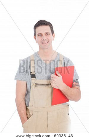 Handsome Young Worker Looking At Camera