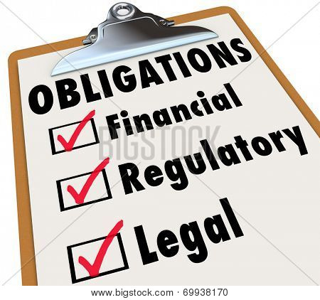 Obligations words on a clipboard checklist with marks in boxes for Financial, Regulatory and Legal words