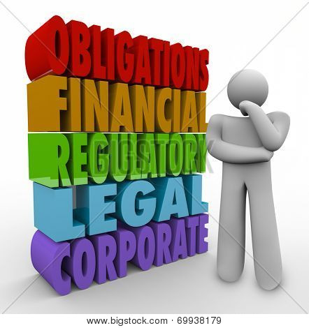 Obligations 3d words beside a person thinking of his responsibilities including financial, regulatory, legal and corporate