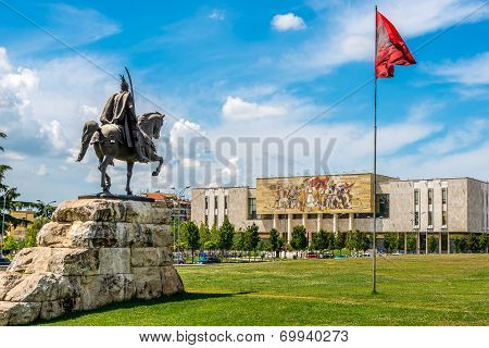 Skanderbeg Monument With National History Museum In Tirana.