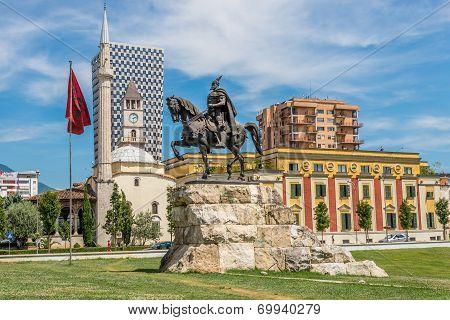 Skanderbeg Square In Tirana .