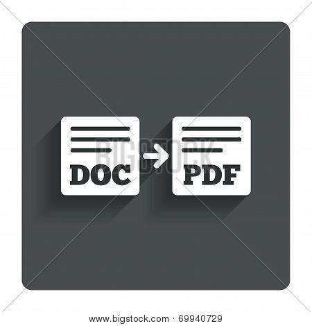 Export DOC to PDF icon. File document symbol.