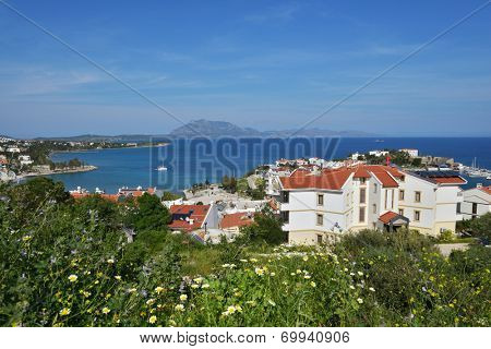 DATCA, TURKEY - APRIL 4, 2014: View to Mediterranean coast of Datca peninsula. The coastline of Datca runs about 235 km and consists of 52 big and small, deep and crystal blue coves