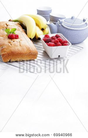 banana bread with raspberries - sweet food