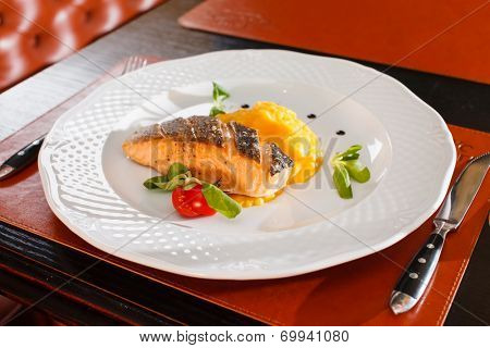 salmon steak in the bar