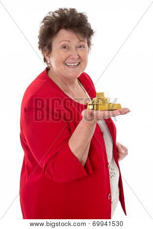 Isolated Senior Woman With Gold Bullion: Concept For Pension And Heritage.