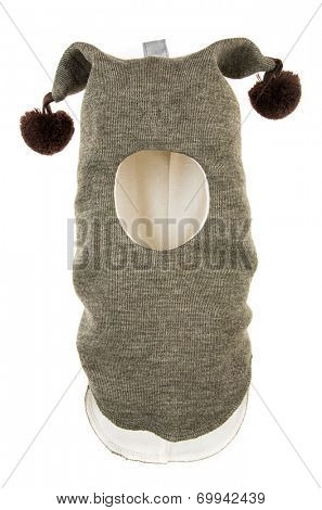 Child One Hole Ski Mask, winter hat helmet isolated on a white background.