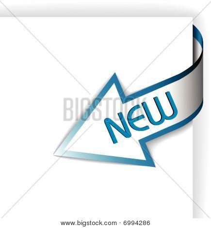 New Blue Corner Ribbon - Arrow