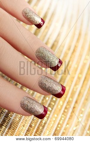 Brilliant Golden manicure.