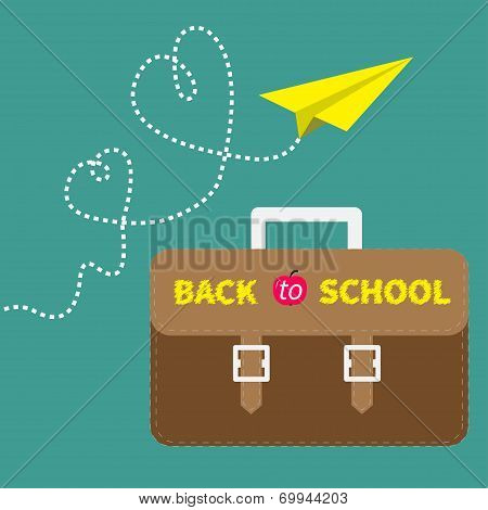 Schoolbag briefcase and yellow paperplane dash line hearts. Flat design style.