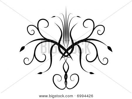 Vector ornamental abstract black sign on white background