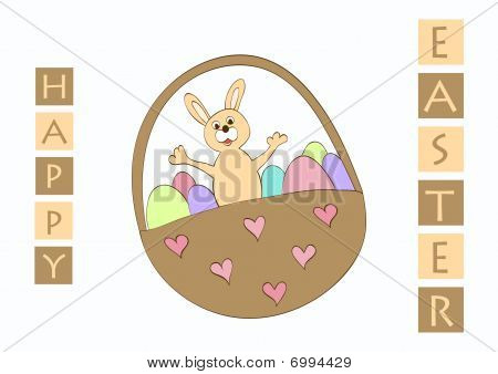 Vector easter greeting card with bunny