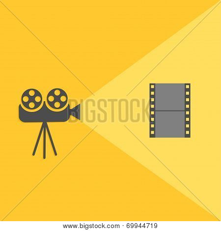 Cinema projector with light and film. Flat design.
