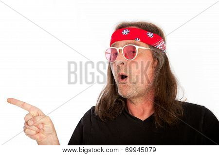 Cool Long Hair Man Pointing Right