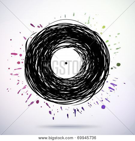 Retro Styled Melody Disc With Colored Splashes