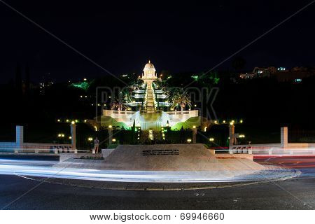 Bahai Gardens At Night, Haifa