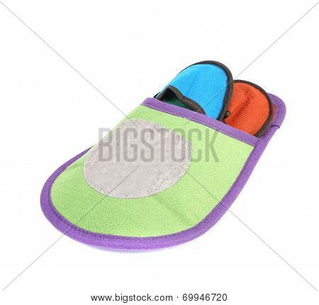 Colourful slippers into big slipper.