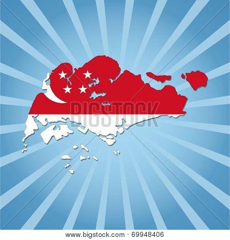 Singapore map flag on blue sunburst illustration