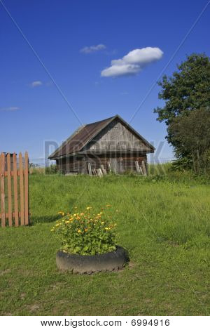 Old Woodshed On Green Grass Meadow