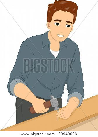 Illustration Featuring a Man Driving a Nail Through Wood