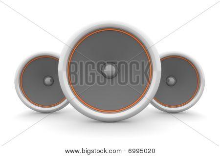 Three Speakers - Orange Design