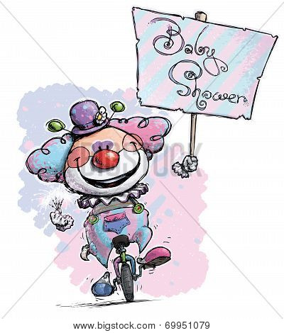 Clown On Unicycle Hoding A Birthday Party Placard