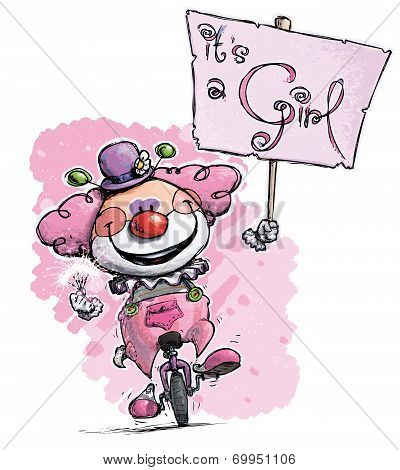 Clown On Unicycle Hoding A Its A Girl Plackard