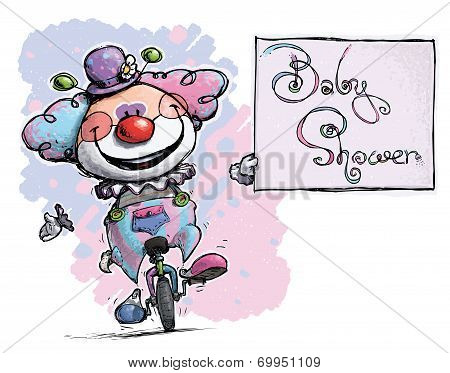 Clown On Unicycle Holding A Baby Shower Card