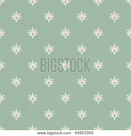 Seamless pale green and beige vintage wallpaper pattern.