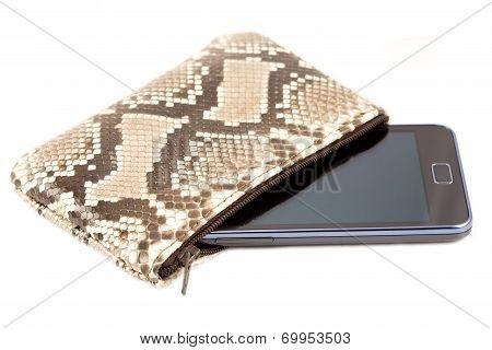Mobile Phone In The Snake Skin Case
