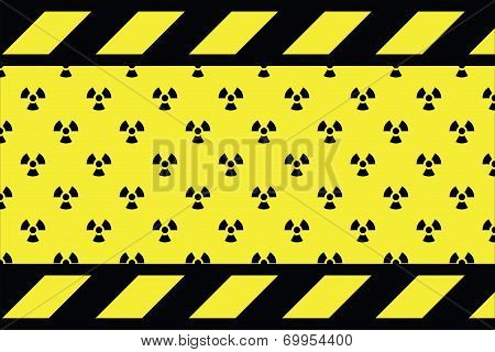 Warning sign for radio active on the yellow background