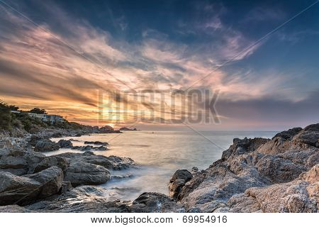 Sunset Over Ile Rousse In Corsica