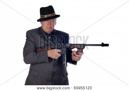 Gangster with submachine gun isolated on white
