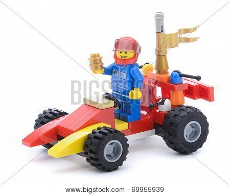 Ankara, Turkey  May 23, 2013:  Colorful Lego race car created with Lego blocks isolated on white background.