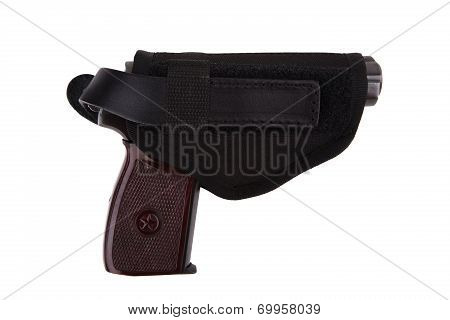 Gun In Textile Holster Isolated On White Background