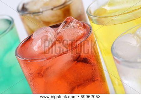 Lemonade Soda Drinks In Glasses