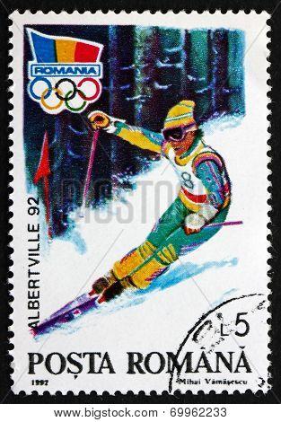 Postage Stamp Romania 1992 Alpine Skiing