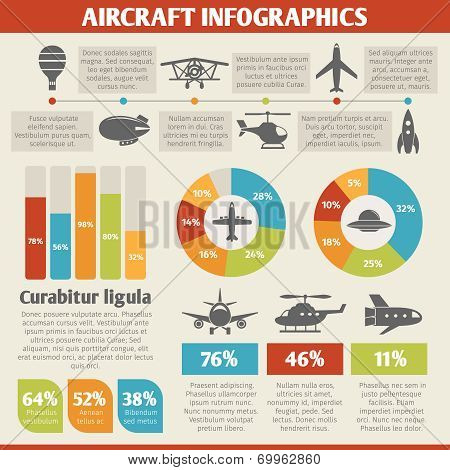 Aircraft icons infographic