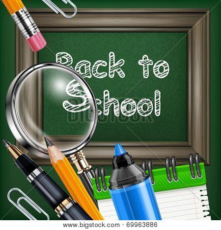 School Blackboard And Stationery