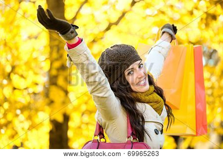 Joyful Woman Shopping And Having Fun In Autumn