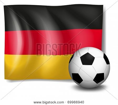 Illustration of a soccer ball in front of the German flag on a white background