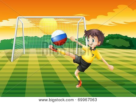Illustration of a girl kicking the ball with the Russian flag
