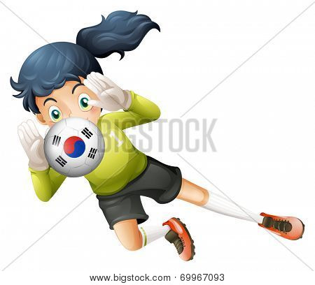 Illustration of a soccer ball with the South Korean flag on a white background