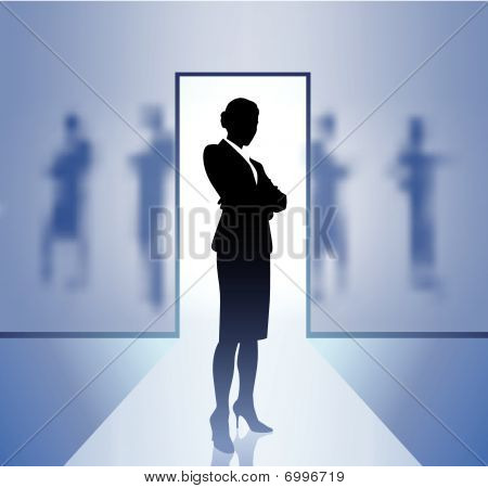 Businesswoman Executive In Focus On Blurry Background