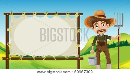Illustration of a farmer beside the empty signage